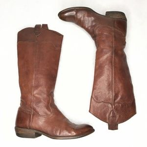 Frye Carson Pull On Riding Boots Brown Leather